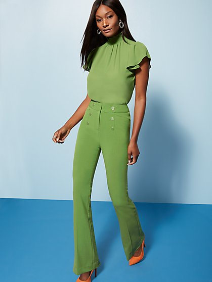 Tall High-Waisted Bootcut Pant - Button Accent - Double Stretch - 7th Avenue - New York & Company