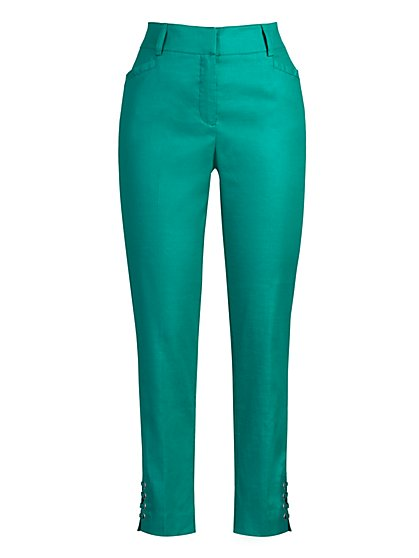 Tall High-Waisted Lace-Up Ankle Pant - Modern - Linen Blend - 7th Avenue - New York & Company
