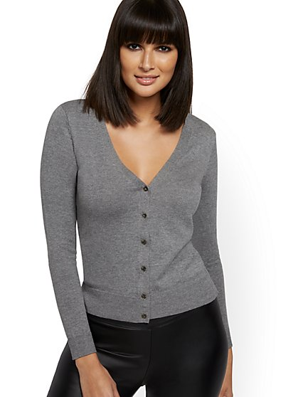 Tall Jeweled-Button V-Neck Chelsea Cardigan - 7th Avenue - New York & Company