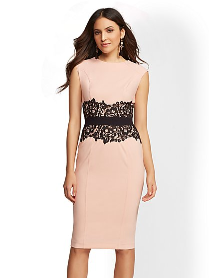 Tall Lace-Accent Sheath Dress - New York & Company