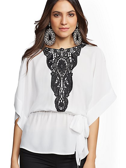 Tall Lace-Trim Kimono Peplum Top - 7th Avenue - New York & Company