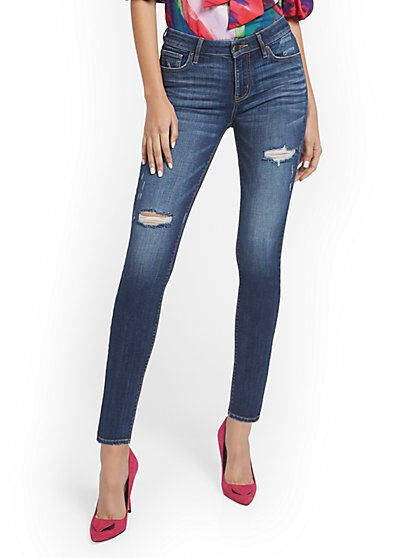 Tall Lexi Mid-Rise Destroyed Super-Skinny Jeans - Cowboy Blue - New York & Company