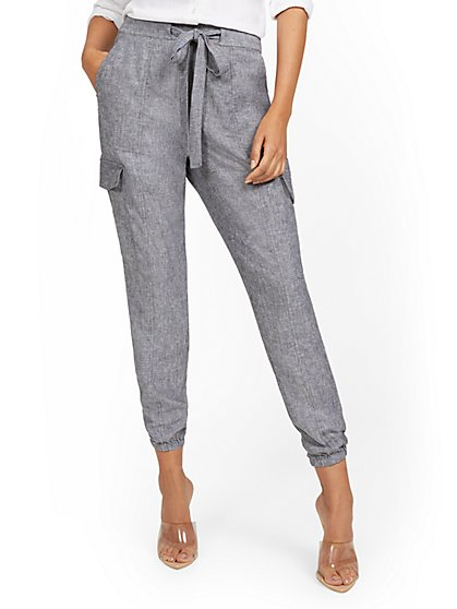 Tall Linen-Blend High-Waisted Cargo Jogger Pant - New York & Company