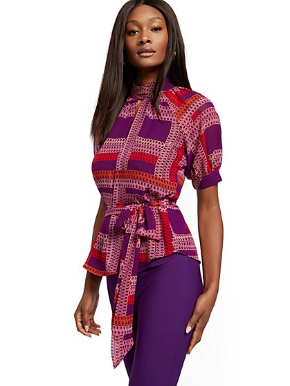Tall Link-Print Puff-Sleeve Blouse - 7th Avenue - New York & Company