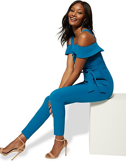 Tall Madie Cold-Shoulder Jumpsuit - New York & Company