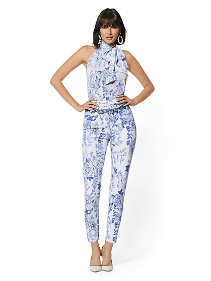 Tall Madie Pant - Blue Floral - New York & Company