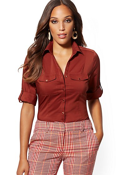 Tall Madison Flap-Pocket Stretch Shirt - 7th Avenue - New York & Company