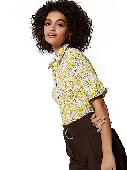 Tall Madison Stretch Shirt - Floral - 7th Avenue - New York & Company