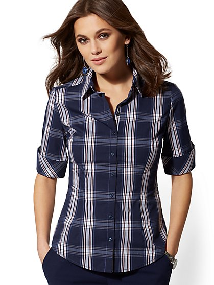 Tall Madison Stretch Shirt - Plaid - 7th Avenue - New York & Company