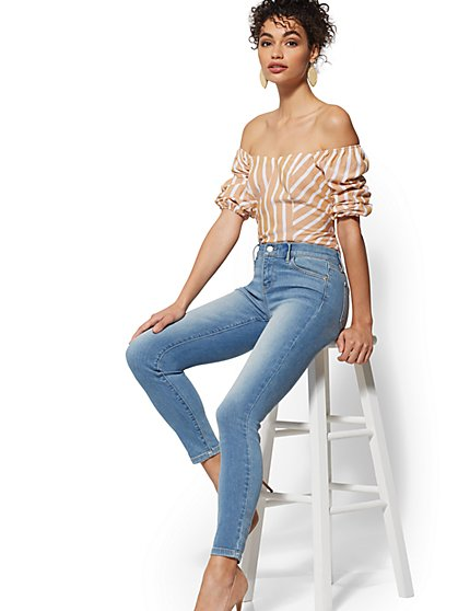 Tall Mid-Rise Super-Skinny Jeans - Blue Rain - New York & Company