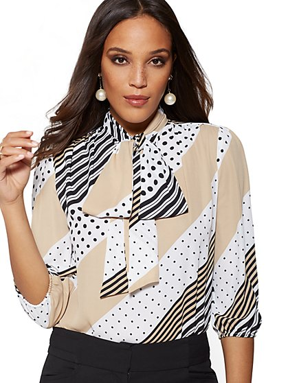 Tall Mixed-Print Bow Blouse - 7th Avenue - New York & Company