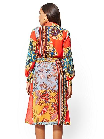 f7edef309 ... Tall Mixed-Print Chiffon Midi Shirtdress - New York & Company