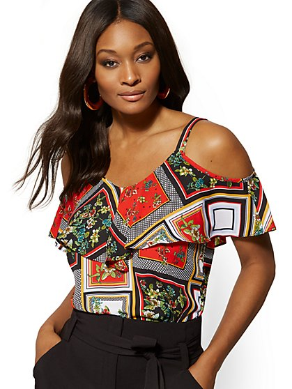 Tall Mixed-Print Ruffled Cold-Shoulder Blouse - New York & Company