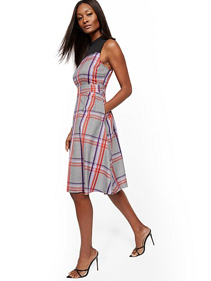 Tall Mock-Neck Fit and Flare Dress - New York & Company
