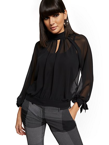 Tall Mock-Neck Tie-Sleeve Blouse - 7th Avenue - New York & Company