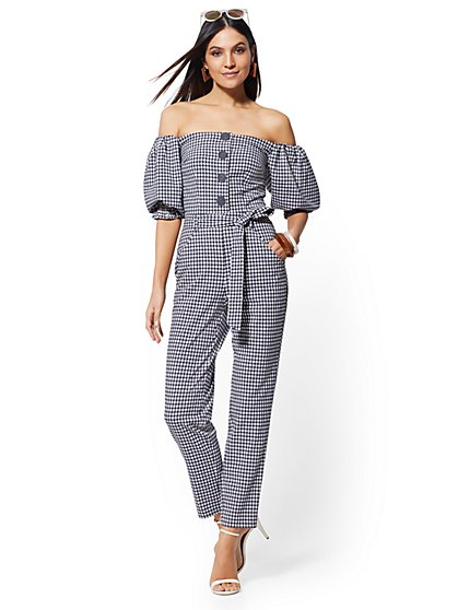 Tall Navy Gingham Strapless Jumpsuit - New York & Company