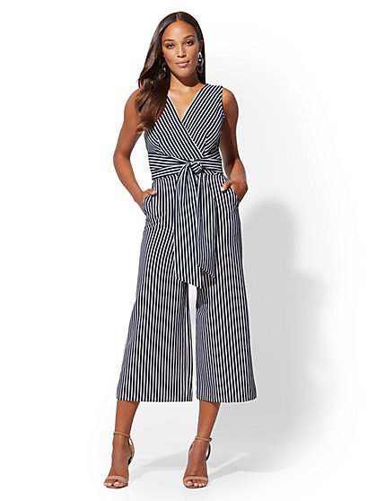 Tall Navy Stripe Wrap Jumpsuit - New York & Company