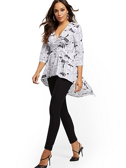 Tall Newsprint Poplin Hi-Lo Tunic Shirt - 7th Avenue - New York & Company