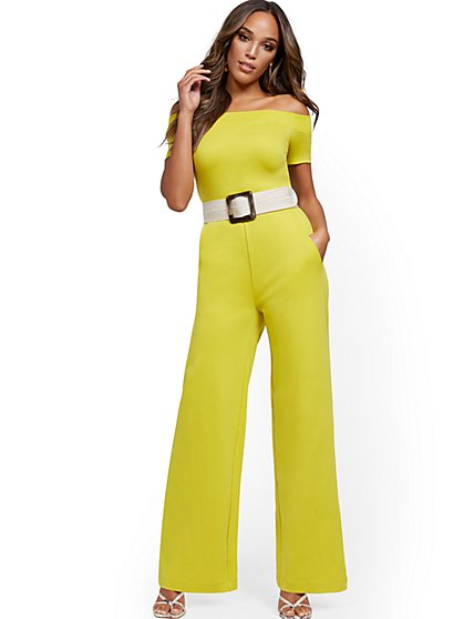 Tall Off-The-Shoulder Cotton Jumpsuit - New York & Company