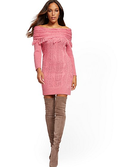 Tall Off-The-Shoulder Fringe Sweater Sheath Dress - New York & Company
