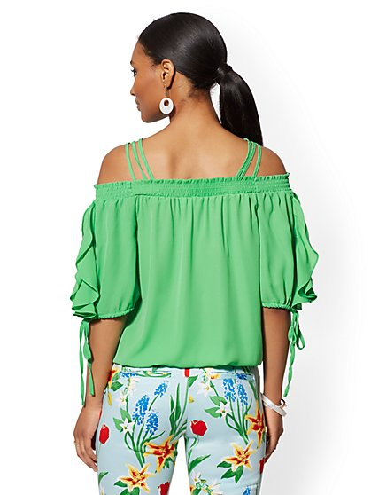 0bec1e5d3e33b2 ... Tall Off-The-Shoulder Tie-Sleeve Blouse - New York   Company