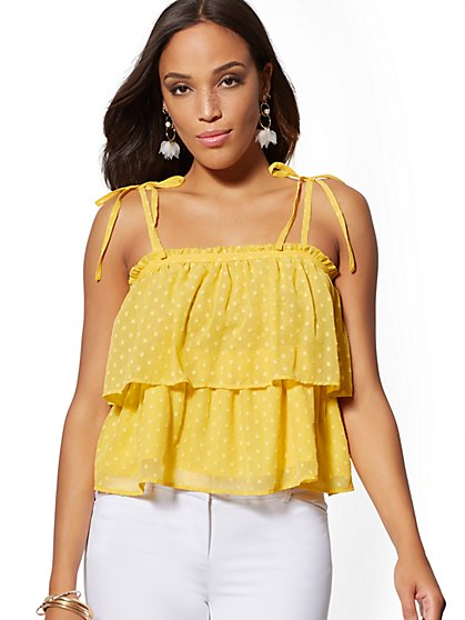 Tall Off-The-Shoulder Tiered Blouse - 7th Avenue - New York & Company