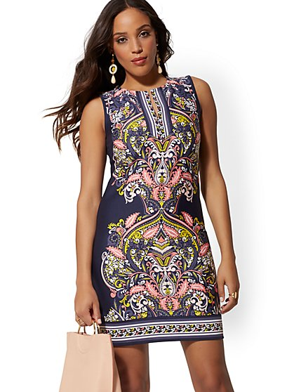 Tall Paisley Cotton Shift Dress - New York & Company