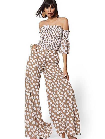 Tall Palazzo Pant - Brown Dot-Print - 7th Avenue - New York & Company