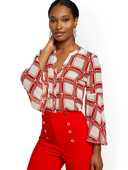 Tall Plaid Bell-Sleeve Blouse - 7th Avenue - New York & Company