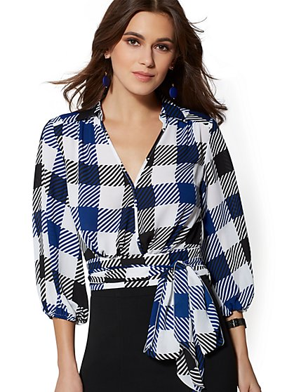 Tall Plaid Belted Wrap Blouse - 7th Avenue - New York & Company