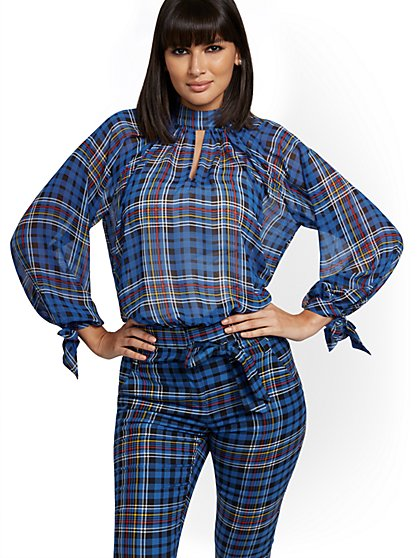 Tall Plaid Mock-Neck Tie-Sleeve Blouse - 7th Avenue - New York & Company