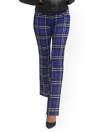 Tall Plaid Pull-On Bootcut Ponte Knit Pant - Superflex - New York & Company