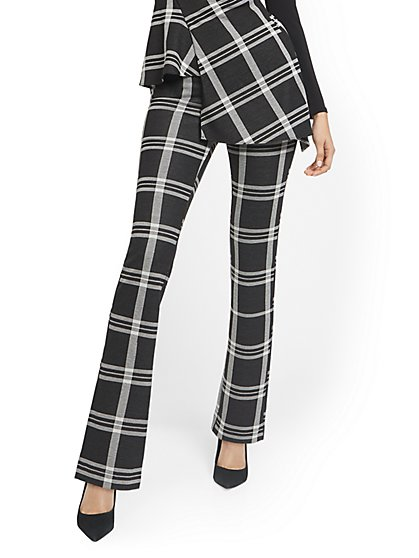 Tall Plaid Pull-On Straight-Leg Ponte Knit Pant - Superflex - New York & Company