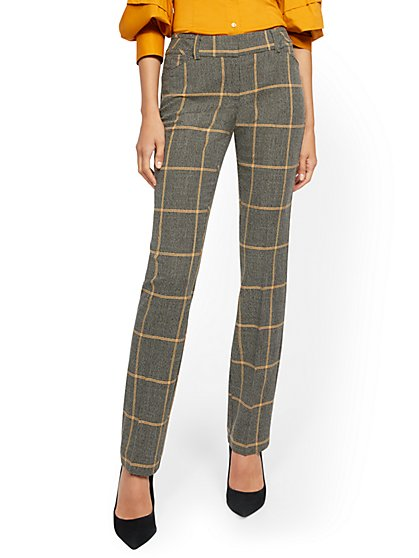 Tall Plaid Straight-Leg Pant - Signature Fit - 7th Avenue - New York & Company