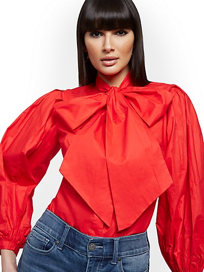 Tall Poplin Bow Blouse - New York & Company