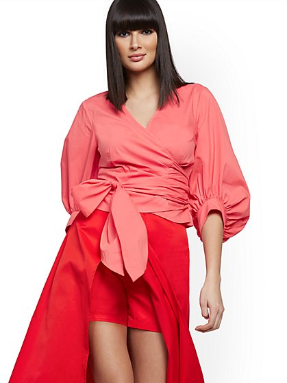 Tall Poplin Wrap Blouse - New York & Company