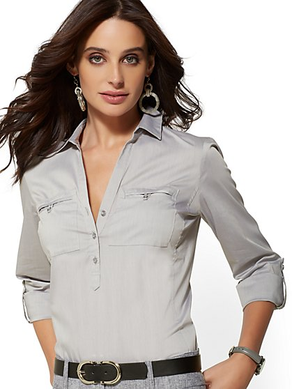 Tall Popover Madison Stretch Shirt - 7th Avenue - New York & Company