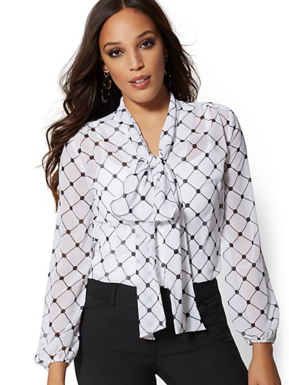 Tall Print Bow Blouse - 7th Avenue - New York & Company