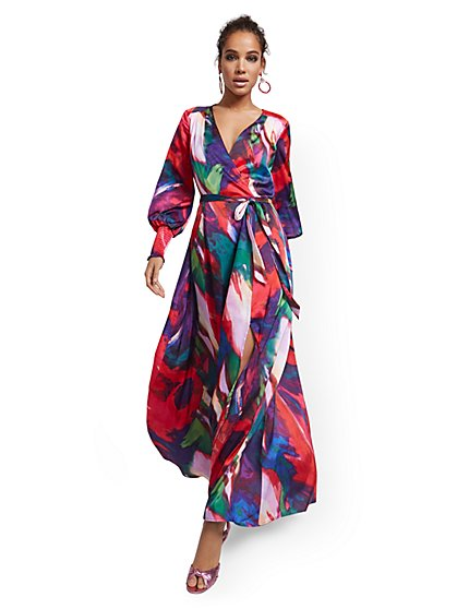 Tall Purple Faux Wrap Maxi Dress - New York & Company