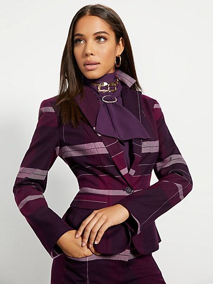 Tall Purple Plaid One-Button Jacket - 7th Avenue - New York & Company