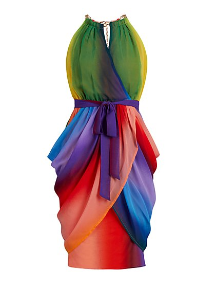 Tall Rainbow Draped Dress - New York & Company