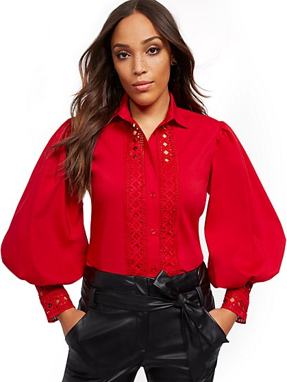 Tall Red Lace-Trim Blouse - 7th Avenue - New York & Company