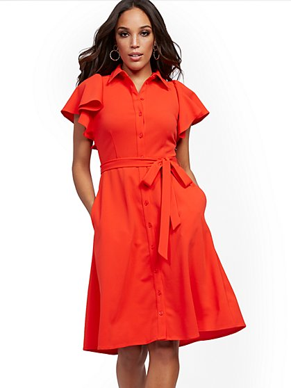 Tall Red Ruffle-Sleeve Shirtdress - Magic Crepe® - New York & Company