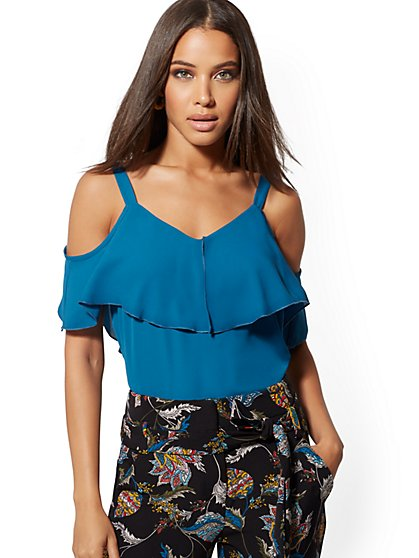 Tall Ruffle Cold-Shoulder Top - New York & Company