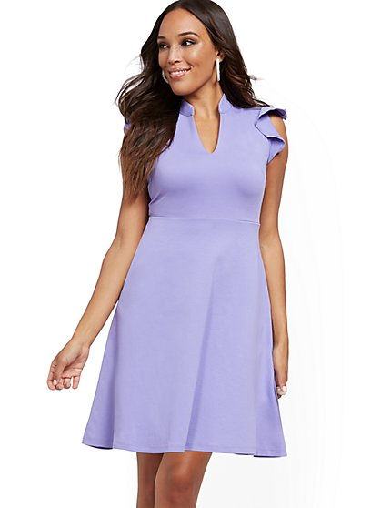 Tall Ruffled Cotton Fit and Flare Dress - New York & Company