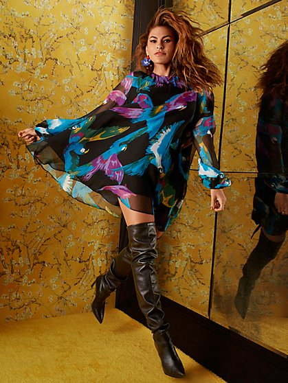 Tall Sabrina Parrot-Print Dress - Eva Mendes Collection - New York & Company