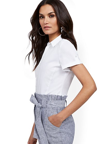Tall Short-Sleeve Madison Stretch Shirt - Secret Snap - 7th Avenue - New York & Company