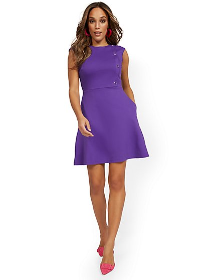 Tall Side-Button Flare Dress - City Knits - New York & Company