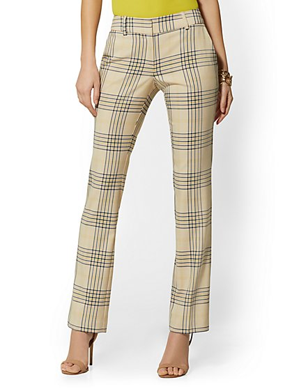 Tall Straight Leg Pant - Signature Fit - Plaid - 7th Avenue - New York & Company