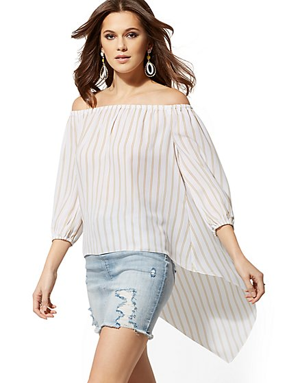 Tall Stripe Off-The-Shoulder Hi-Lo Blouse - New York & Company